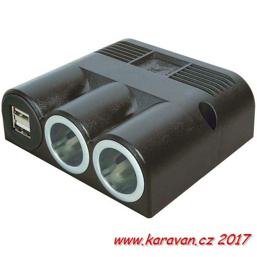 925e60245 Zásuvka k montáži PRO CAR 2x 12V 2x USB 2500mA